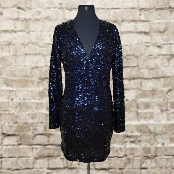 8fb7a29e25bf blue black sequin venus mini dress small. M_5ae13b8e8290afd65ef76b05